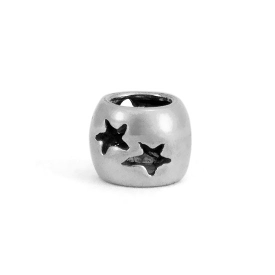 Sterling Spacer Bead with Star Cutouts