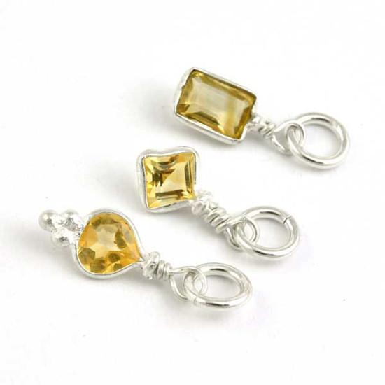 Sterling Wrapped Stone - Citrine Crystal (Nov)
