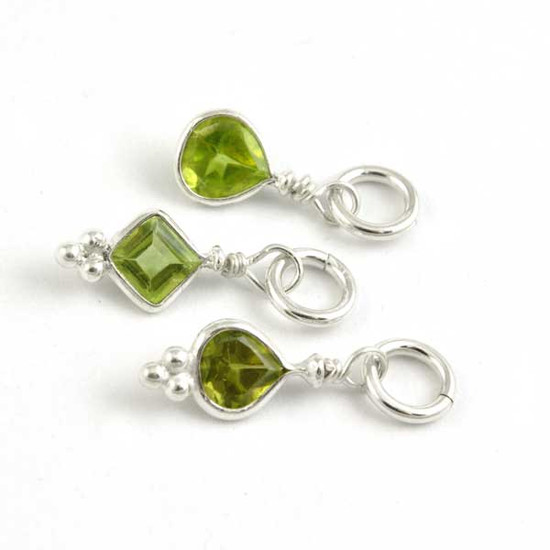 Sterling Wrapped Stone - Peridot Crystal (Aug)