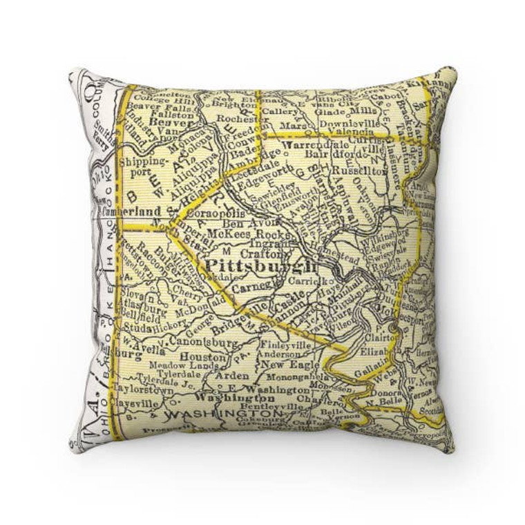 Pittsburgh Map Pillow