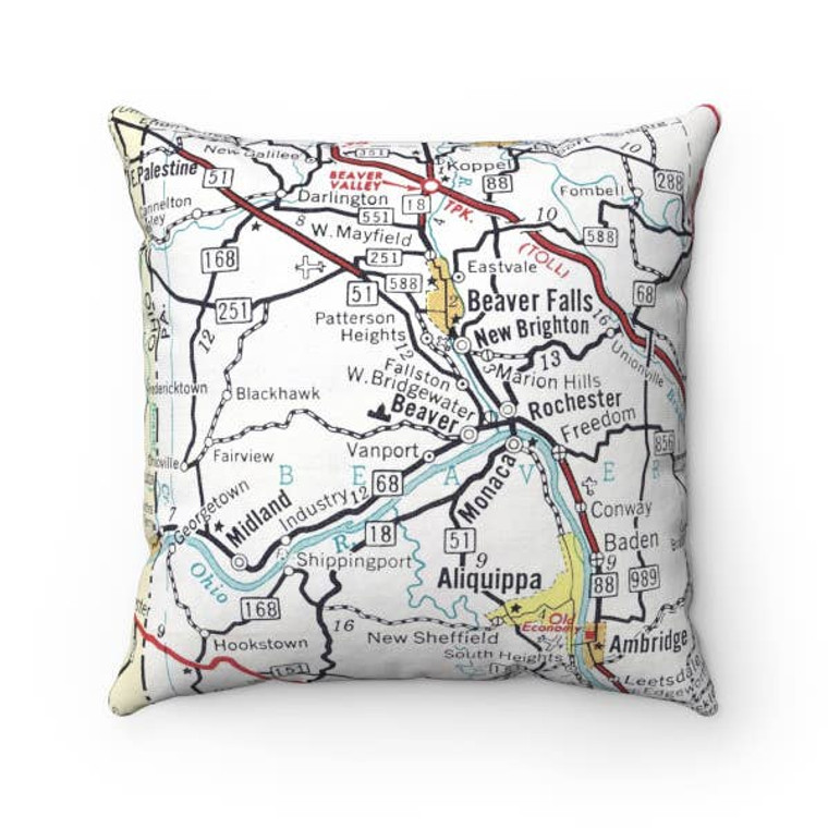 Beaver County Map Pillow