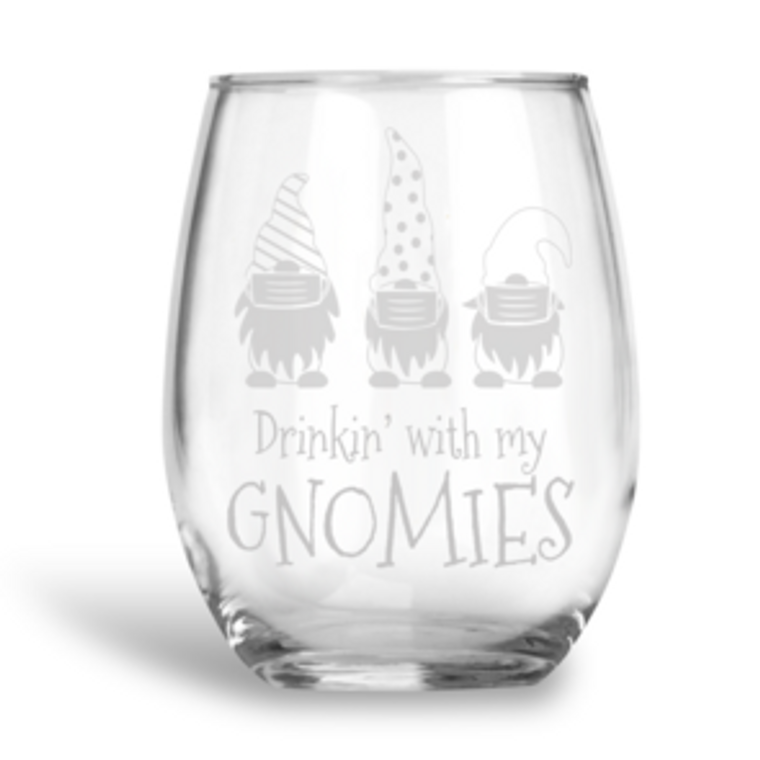 Drinking with my Gnomes wine glass