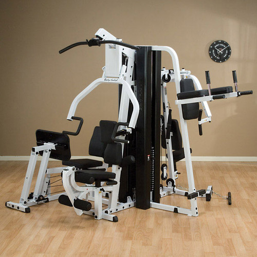 Body-Solid EXM3000LPS Gym System shown with Optional Vertical Knee Raise Attachment