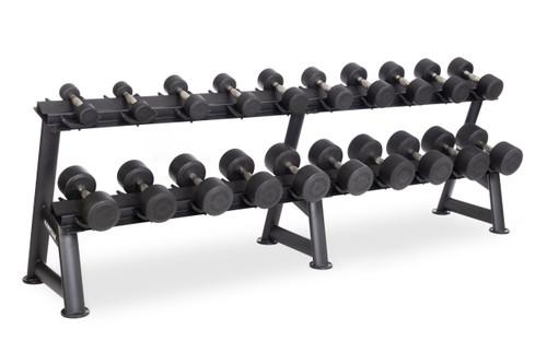 Hampton Dura-pro 10 Pair Dumbbells (5-50 in 5 lb increments) Horizontal Racking Club Pack