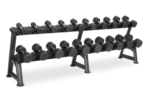 Hampton Dura-pro 10 Pair Dumbbells (5-50 in 5 lb increments) Horizontal Racking Club Pack