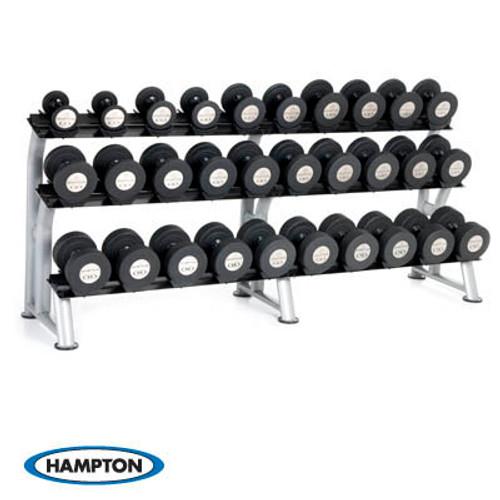 Hampton Gel-Grip Urethane 6 Pair Black Dumbbells (105-130 in 5 lb increments) Club Packs Set