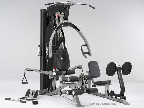 BodyCraft Elite Strength Training Gym Shown with Graphite Shrouds and Optional Leg Press