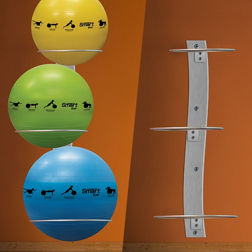 Prism Fitness Smart Wall Mounted Stability Ball Rack Package