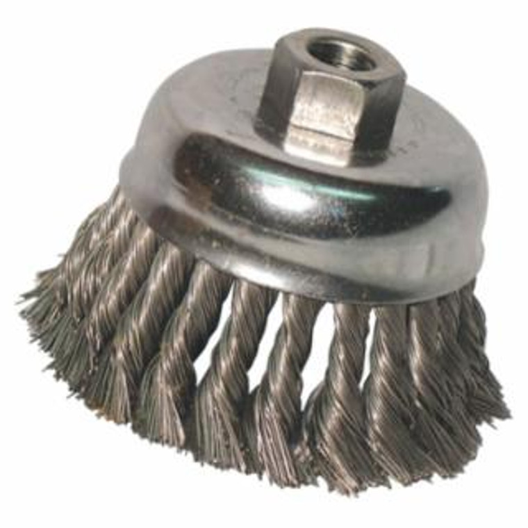 Knot Wire Cup Brush, 4 in Dia., 5/8-11 Arbor, .02 in Carbon Steel*free shipping*