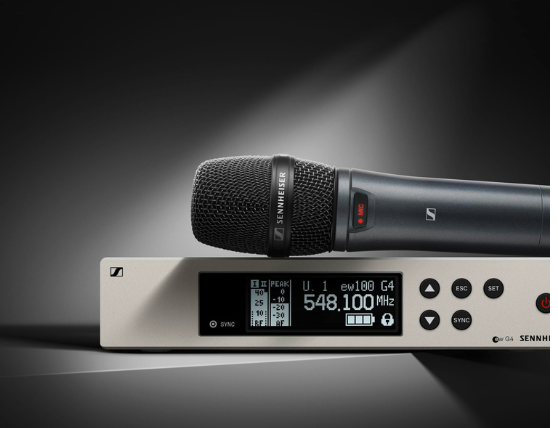 Black and white photo of the Sennheiser EW100 Microphone and Transmitter