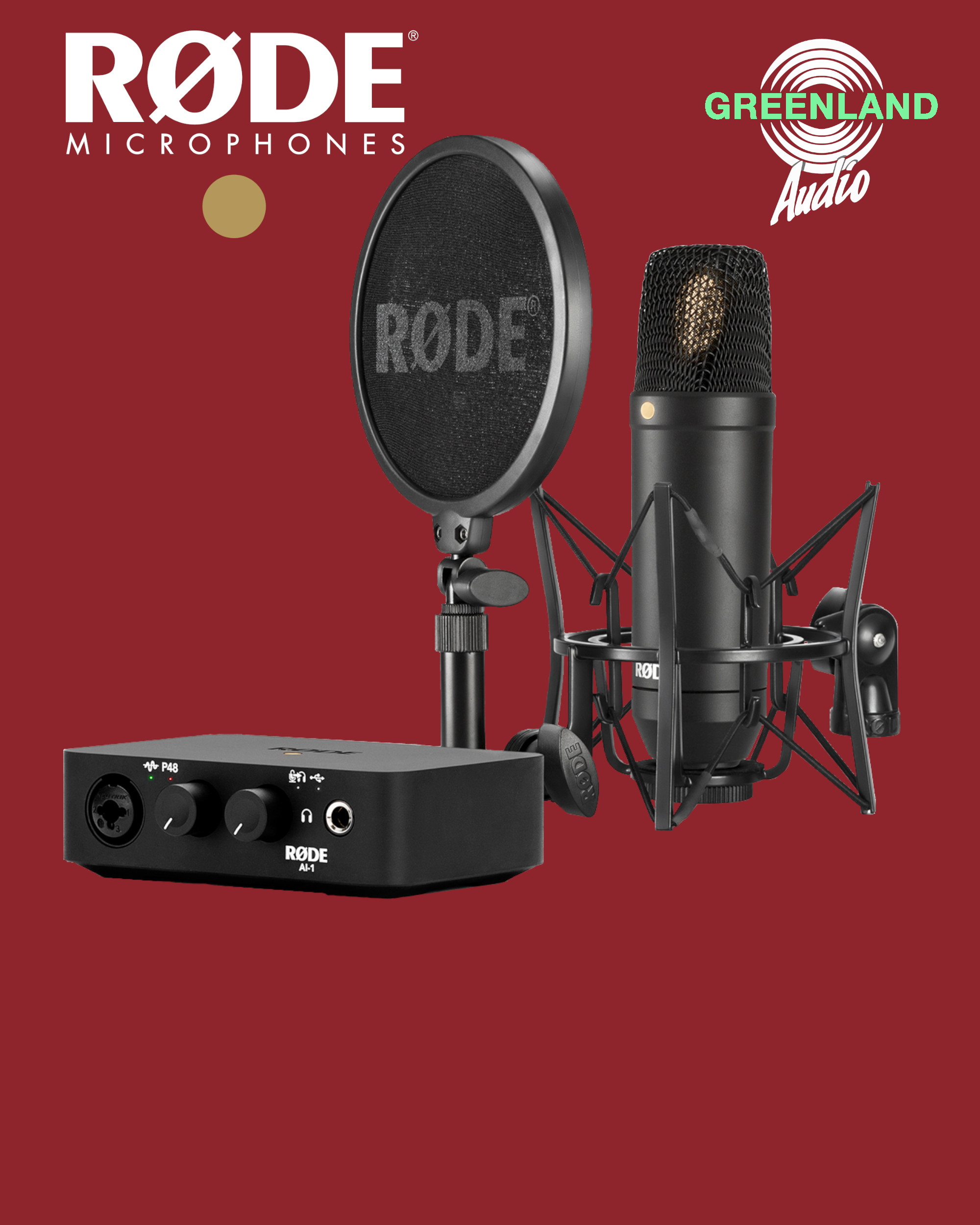 RODE AI1 NT1 Complete Kit. Red background
