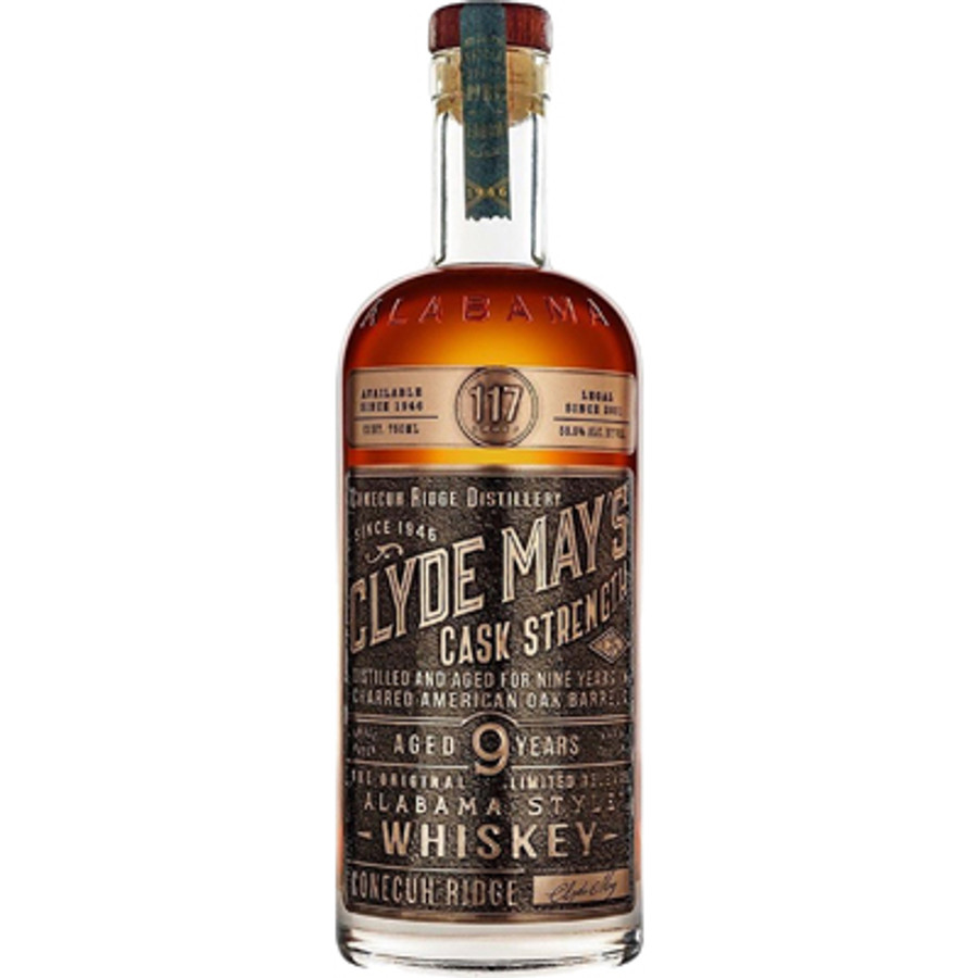 Clyde May's 9 Years Old Cask Strength Alabama Style Whiskey