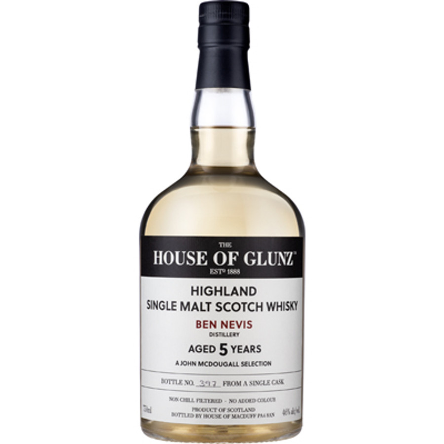 House of Glunz Ben Nevis Single Malt Scotch Whisky 5 Years Old