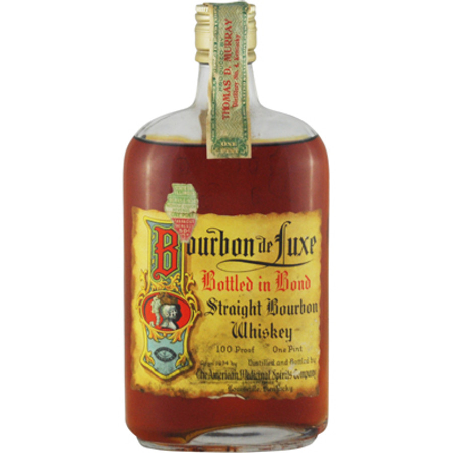 "Rare Prohibition Whiskey - Thomas D. Murray ""Bourbon de Luxe"" Straight Bourbon Whiskey Distilled 1916 Bottled 1934 - 1 Pint"