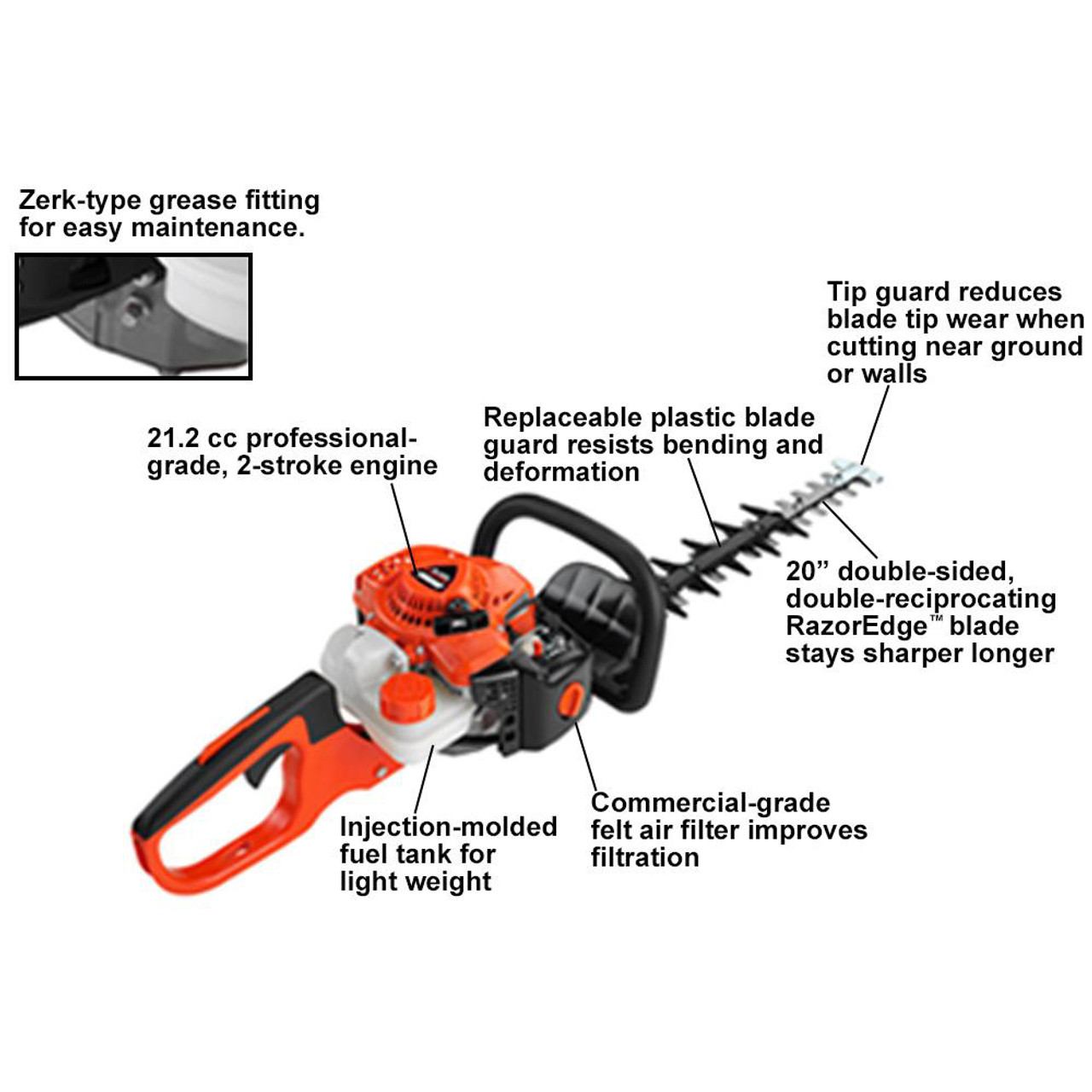 """ECHO HC-2020 21.1cc Hedge Trimmer w/ 20"""" Double-Sided Blades Image 2"""
