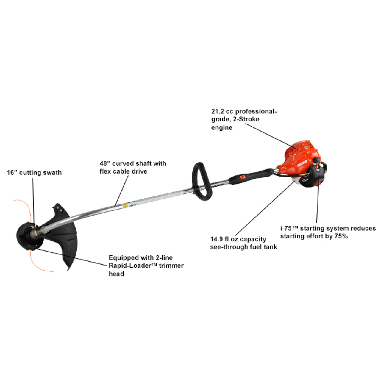 ECHO GT-225i 21.2cc 2-Stroke Curved Shaft String Trimmer w/ i-75 Easy Start Image 2
