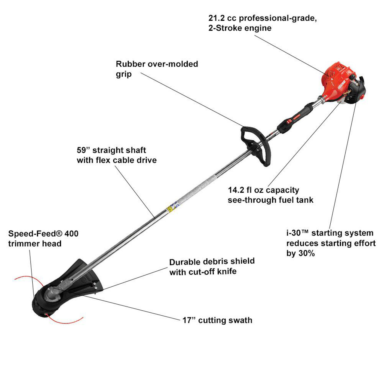 Echo Srm 225 21 2cc Straight Shaft String Trimmer With I 30 Easy Start System Sohars