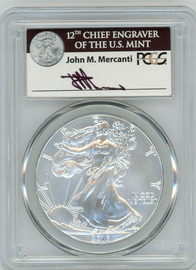 2016-(W) Silver Eagle MS70 PCGS 30th Anniversary Struck at West Point Mercanti Signed