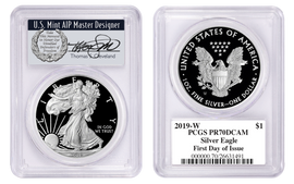 2019-W Proof Silver Eagle PR70 PCGS First Day of Issue Thomas Cleveland wreath