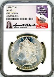 1884 CC Morgan Dollar MS63 NGC GSA Hoard A. Cabral