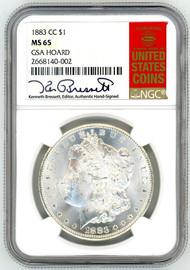 1883 CC Morgan Dollar MS65 NGC GSA Hoard K. Bressett