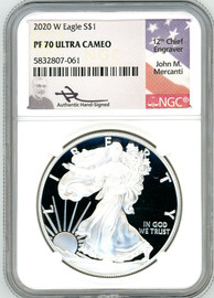 2020 W $1 Proof Silver Eagle PF70 NGC John Mercanti