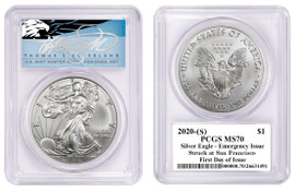 2020-(S) $1 ASE PCGS MS70 Emergency Issue Struck at San Francisco FDOI T Cleveland