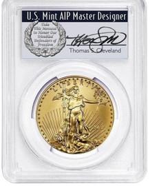 2021 $50 Gold Eagle MS70 PCGS Type 1 FDOI T. Cleveland wreath