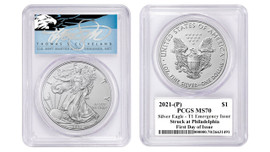 2021-(P) ASE MS70 PCGS T1 Emergency Issue Struck at Philadelphia FDOI T. Cleveland blue eagle