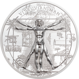 2021 $5 Silver 1oz. Proof Cook Islands X-Ray Vitruvian Man Ultra High Relief