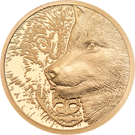 2021 1000 Togrog Mongolia Proof Mystic Wolf Gold 1/10oz. Ultra High Relief