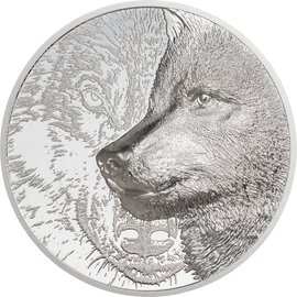 2021 2000 Togrog Mongolia Proof Mystic Wolf Silver 3oz. Ultra High Relief
