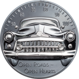 2021 $10 Silver 1oz. Black Proof Cooks Islands Classic Car - Open Roads High Relief