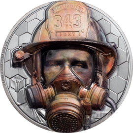 2021 $20 Silver 3oz. Black Proof Cook Islands Real Hereos - Firefighter Ultra High Relief