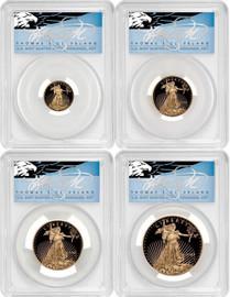 2021-W 4-coin Proof Gold Eagle Set ($5, 10, 25, 50) PR70 PCGS Type 1 FDOI T. Cleveland blue eagle POP 10