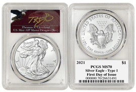 2021 ASE MS70 PCGS Type 1 FDOI T. Cleveland angry eagle