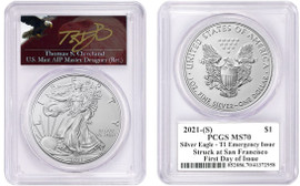2021-(S) ASE MS70 PCGS T1 Emergency Issue Struck at San Francisco FDOI T. Cleveland  Angry Eagle