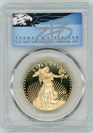2021-W $50 Gold Eagle PR70 PCGS Type 1 FDOI T. Cleveland blue eagle