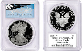 2018-W Proof ASE PR70DCAM PCGS First Strike T. Cleveland blue eagle