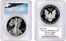 2017-W Proof ASE PR70DCAM PCGS First Strike T. Cleveland blue eagle