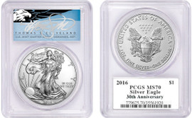 2016 ASE MS70 PCGS 30th Anniv T. Cleveland blue eagle