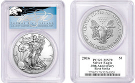 2016 ASE MS70 PCGS 30th Anniv First Strike T. Cleveland blue eagle
