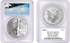 2014 ASE MS70 PCGS First Strike T. Cleveland blue eagle