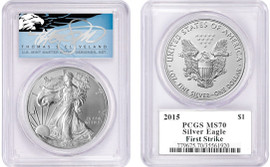 2015 ASE MS70 PCGS First Strike T. Cleveland blue eagle