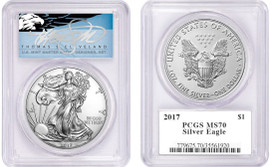 2017 ASE MS70 PCGS T. Cleveland blue eagle