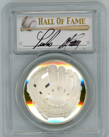 2014-P $1 Silver Red Sox Hall of Fame PR70 PCGS Pedro Martinez