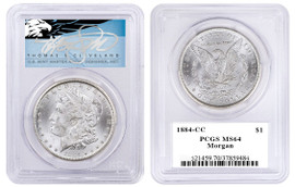 1884-CC $1 Silver Morgan Dollar MS64 PCGS T Cleveland Blue Eagle
