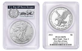 2021 $1 Silver Eagle MS70 PCGS Type 2 FDOI T. Cleveland wreath