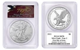 2021 $1 Silver Eagle MS70 PCGS Type 2 FDOI T. Cleveland Angry Eagle