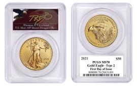 2021 $50 Gold Eagle MS70 PCGS Type 2 FDOI T Cleveland Angry Eagle